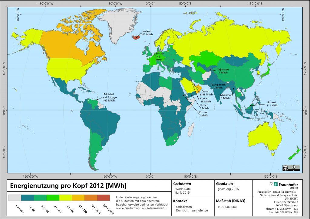 Energiebedarf pro Kopf Karte